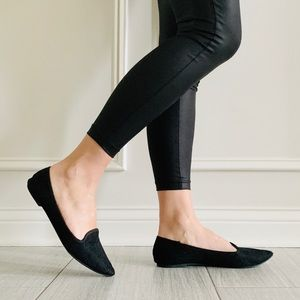 {Report} Black Lace Overlay Pointy Toe Flats
